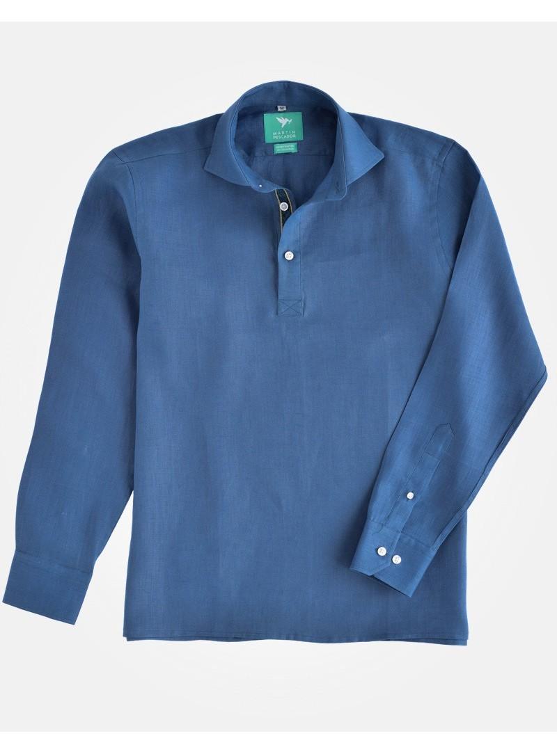 Chemise 3 Boutons Bleue en Lin