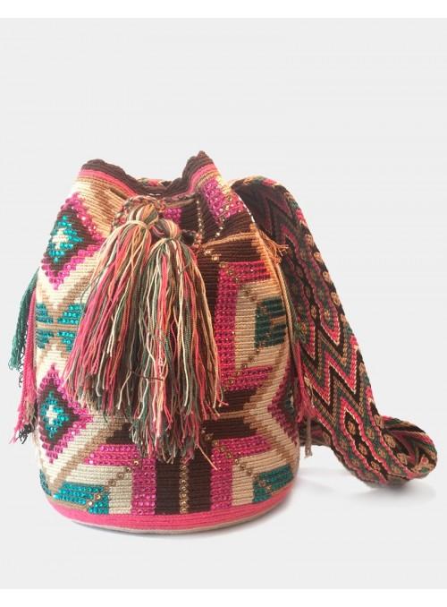 Sac Mochila Wayuu Décoré Rose