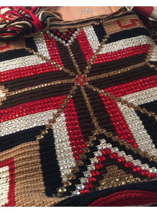 Sac Mochila Wayuu Décoré Rouge