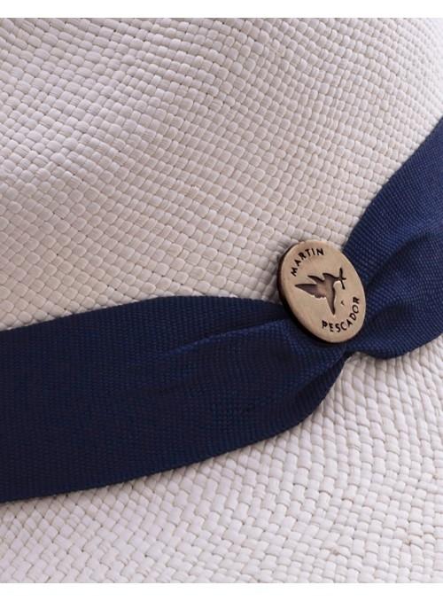 Sombrero Panamá Fino Blanco Cinta Azul Navy