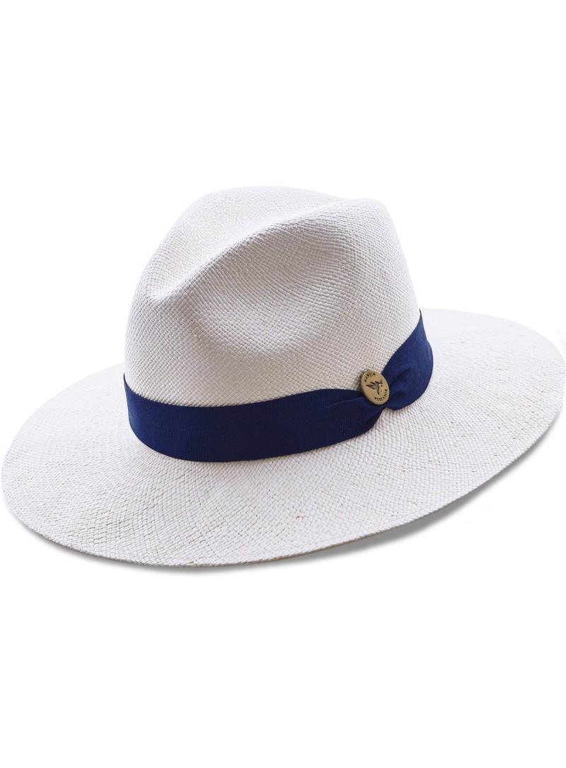 rechercher l'original économiser grande sélection Chapeau Panama Fine Blanc Bande Bleue Navy
