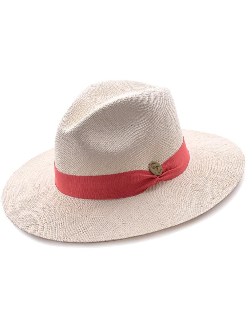 Chapeau Panama Fine Blanc Bande Saumon
