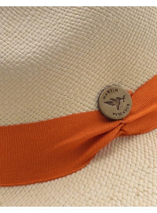 Chapeau Panama Fine Crème Bande Orange