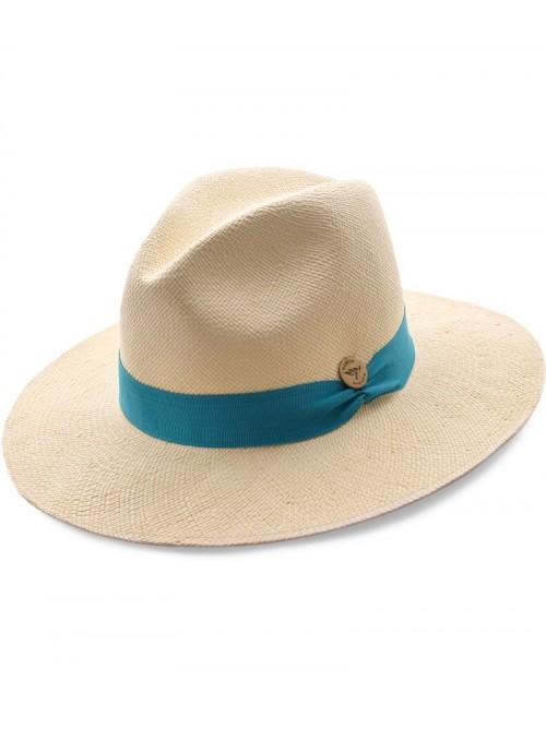 Chapeau Panama Fine Crème Bande Menthe