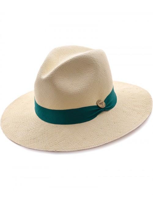Chapeau Panama Fine Crème Bande Vert Anglais