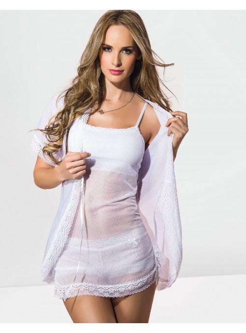 Déshabillé sexy en tull Blanc